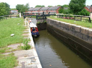 A barge enters Hell Meadow locks