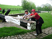 Thomas and Connor at Bank Newton lock (No.40)