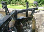 Water overflowing the lock gates