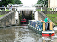 Boats entering Bingley Three Rise locks