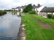A row of small cottages on the towpath