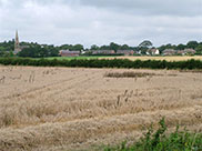 View across farmland from the towpath