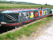 Barge painted with cartoon characters
