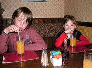 The kids having a drink