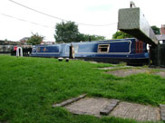 A narrow boat in Lathom locks