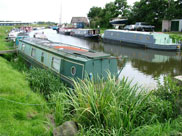 Narrow boats moored at the end of the Rufford Branch