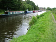 Narrow boats moored at Riley Green