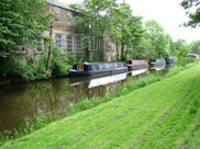 Narrow boats moored at Withnell Fold