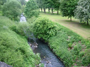A stream/river passes under the canal