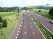 View east from the M65 motorway viaduct