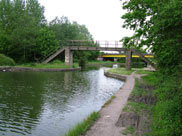 Springfield foot bridge, Leigh, with the A579 Atherleigh Way behind