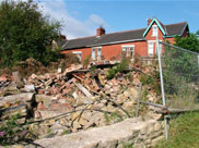 Rubble close to Greenbank bridge